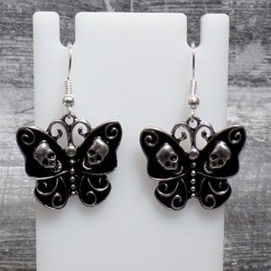 Jewelry - Skull Butterfly Earrings - Gothic Butterfly